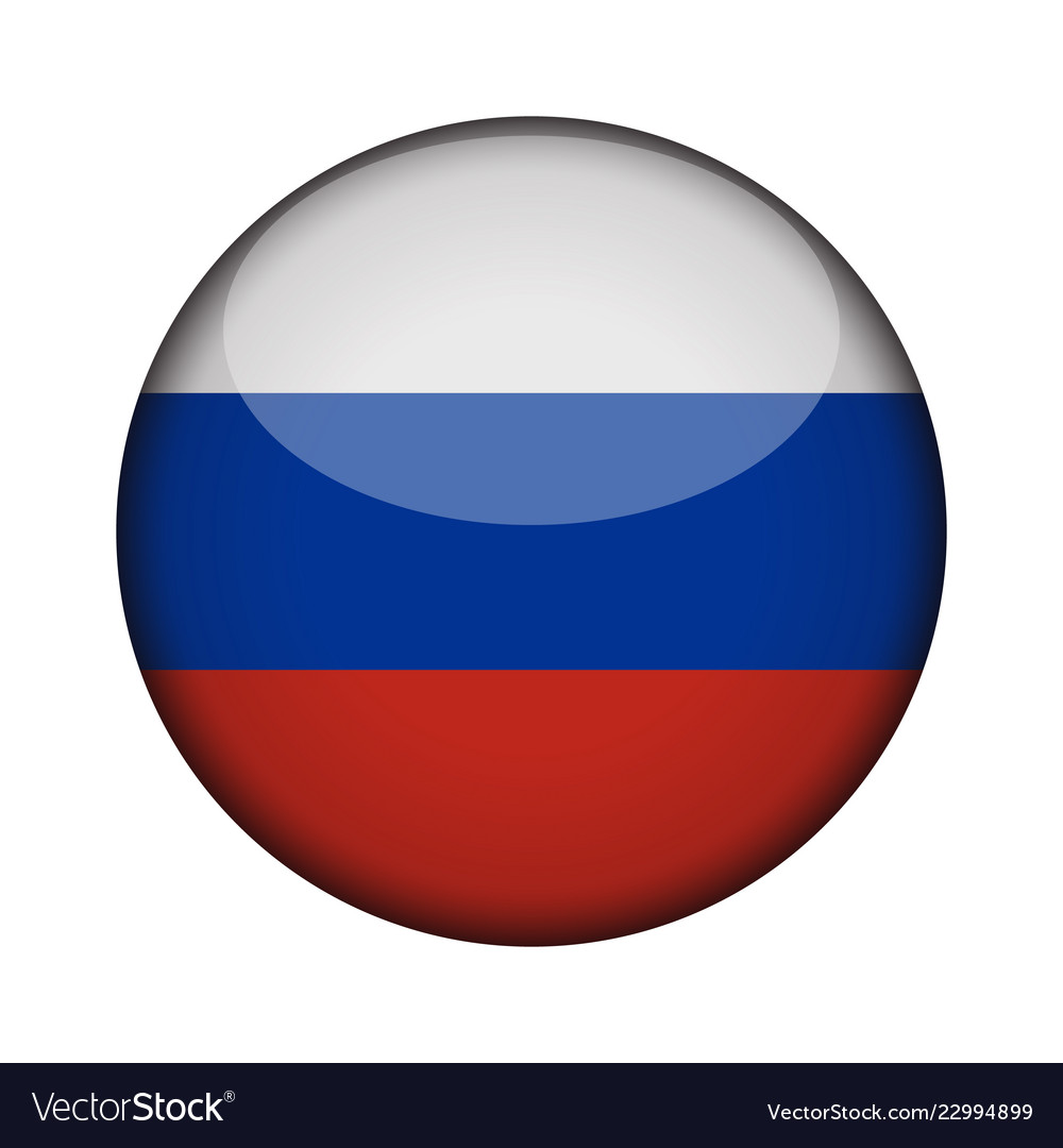 Russia flag in glossy round button of icon russia.