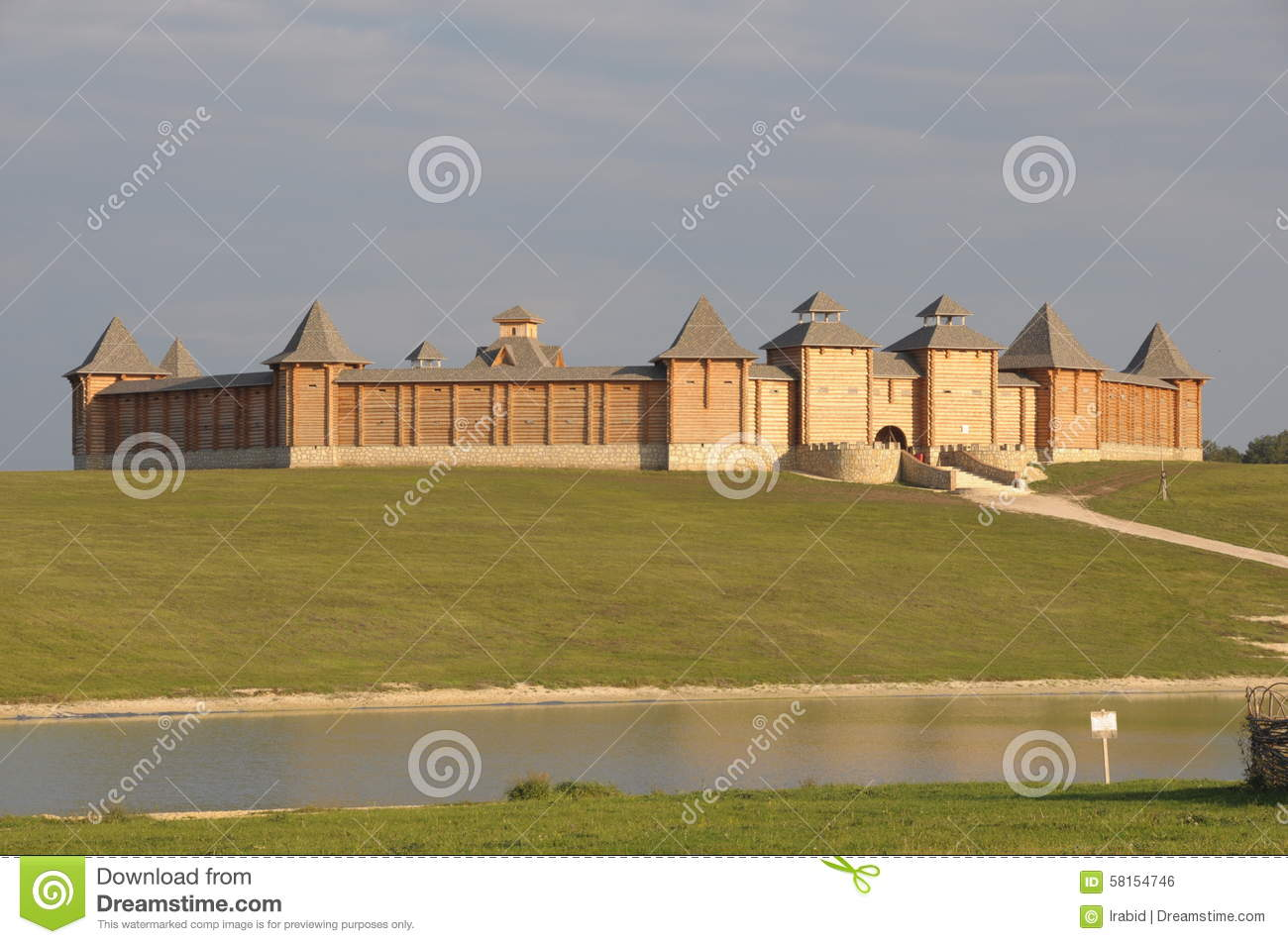 Old Russian Wooden Fortress Stock Photo.