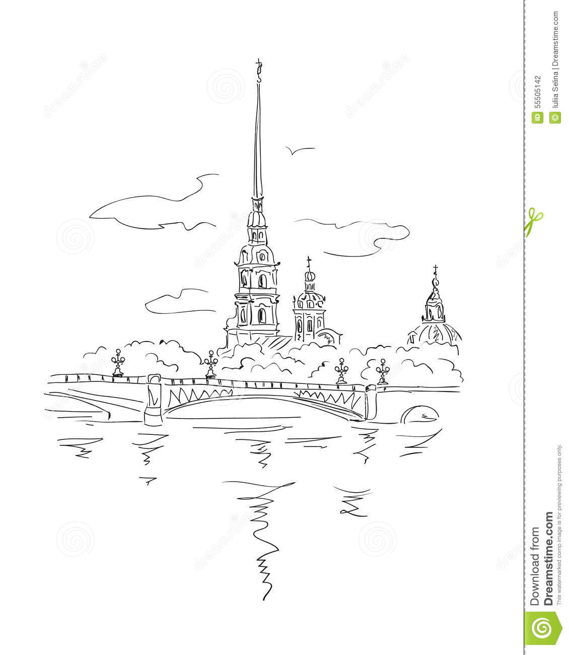 Peter And Paul Fortress In Spb Stock Vector.