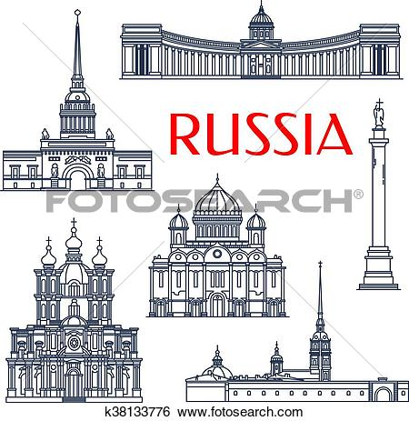 Clip Art of Russian architectural attractions thin line icons.