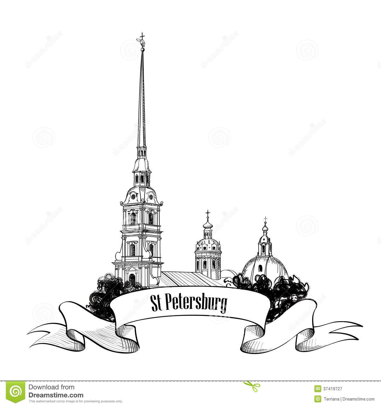 St. Petersburg Landmark, Russia. Travel Landmark Label Royalty.