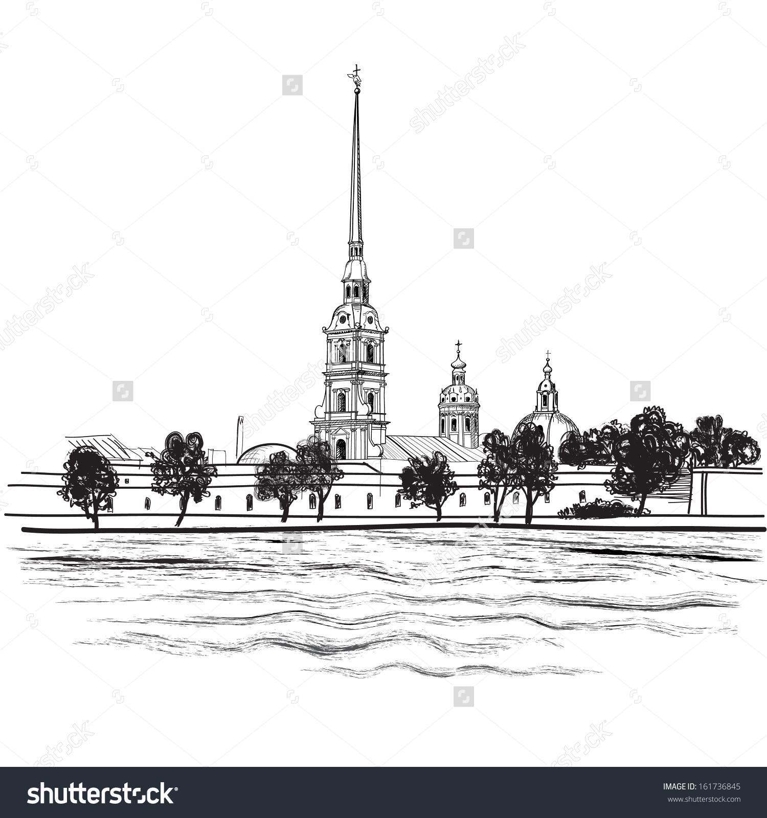 Stpetersburg Landmark Peter Paul Cathedral Russian Stock Vector.