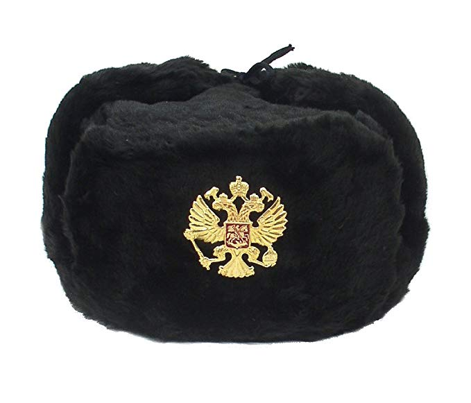 Russian Hat Ushanka Military Cossack w/Imperial Eagle Black Size M (58).