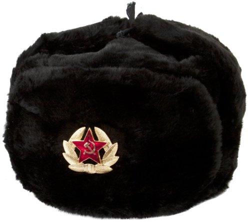 Hat Russian Soviet Army Black KGB Fur Military Cossack Ushanka Size L.