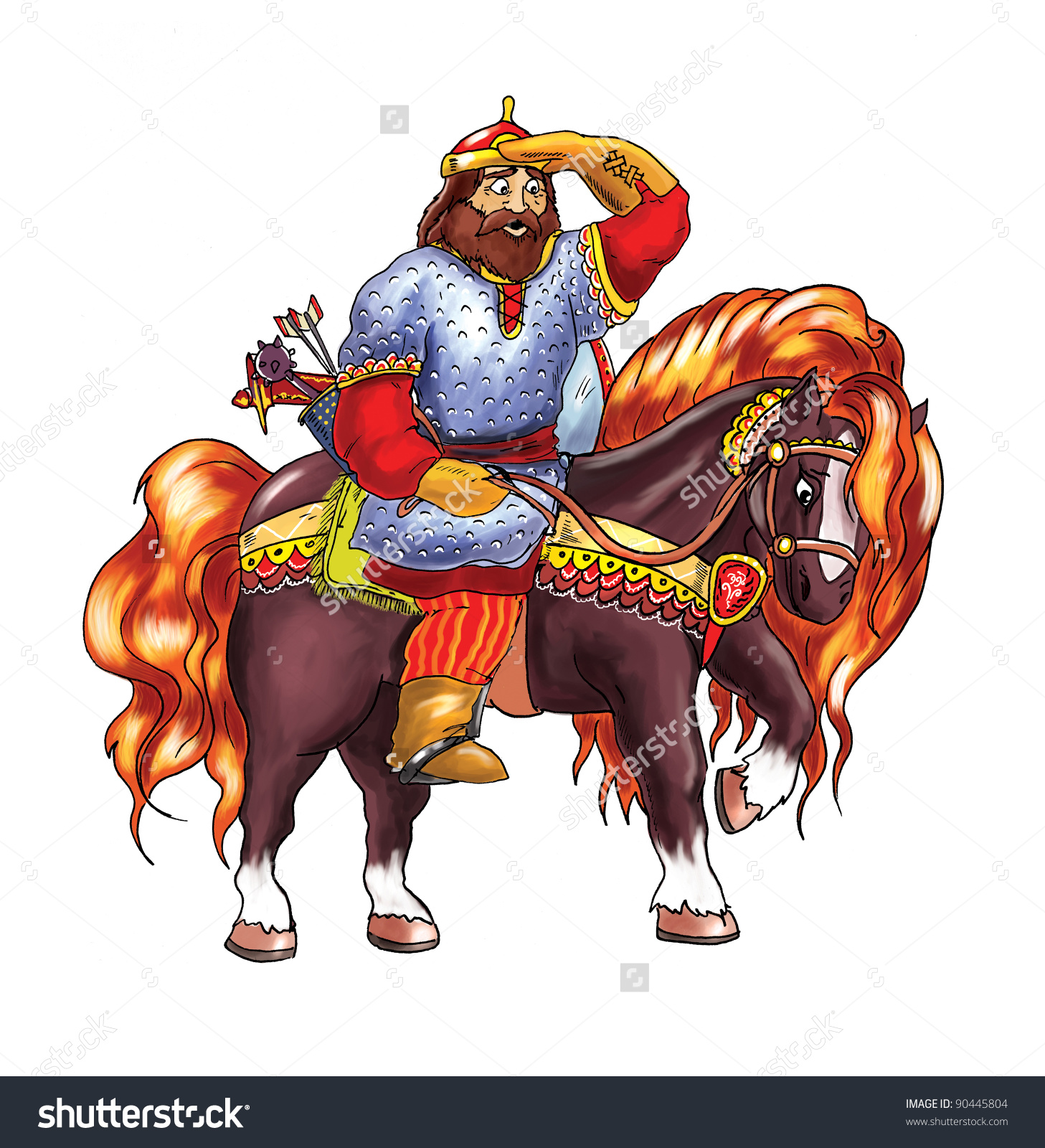Russian Epic Hero Sitting On Horse Looking Forward And Surprised.