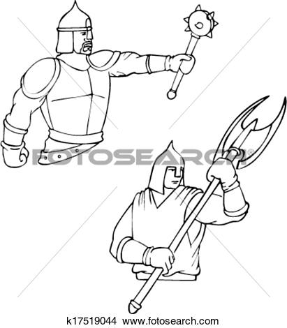 Clipart of Russian bogatyrs.