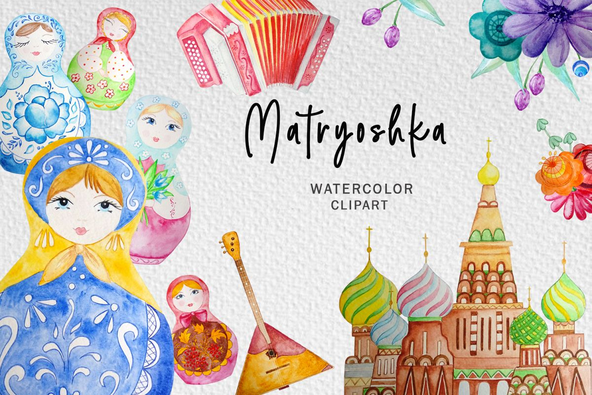 Matryoshka Watercolor Clipart, Russian Nesting Doll Clipart.