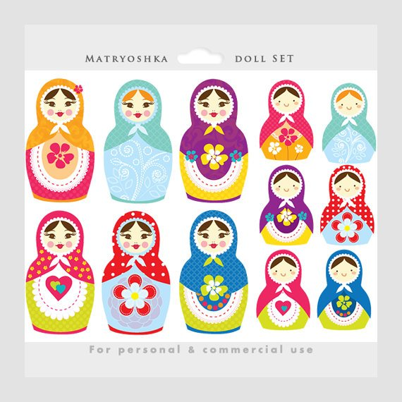 Matrioshka doll clipart.