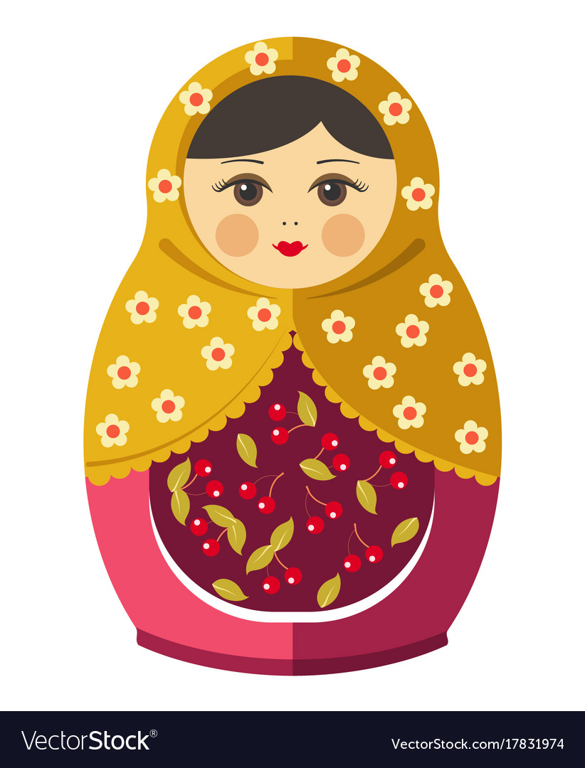 Matryoshka doll or russian nesting doll with.
