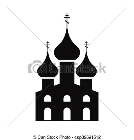 Vector Clip Art of Russian orthodox church simple icon isolated on.