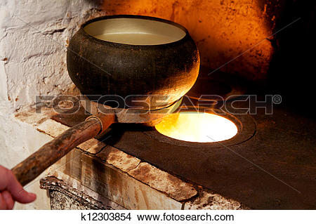 Stock Photo of russian oven and old cast.