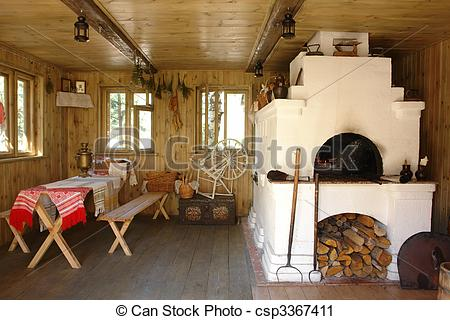 Stock Photography of Interior of russian house with traditional.