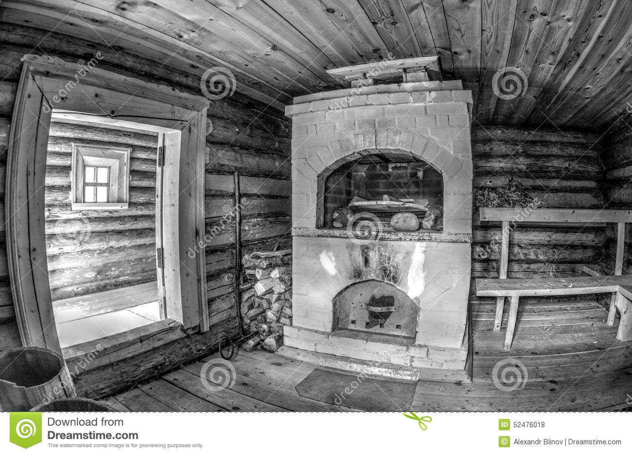 Interior Of Traditional Russian Wooden Bath With Brick Oven Stock.