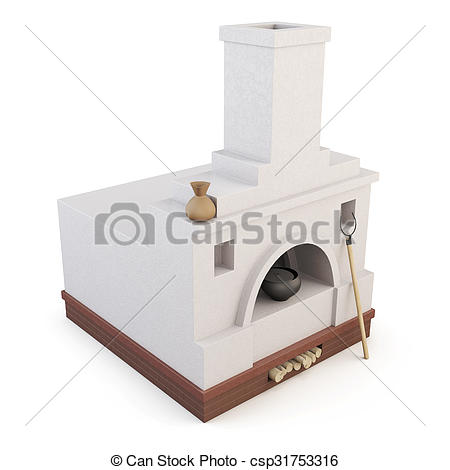 Clipart of Russian oven isolated on white background. 3d.