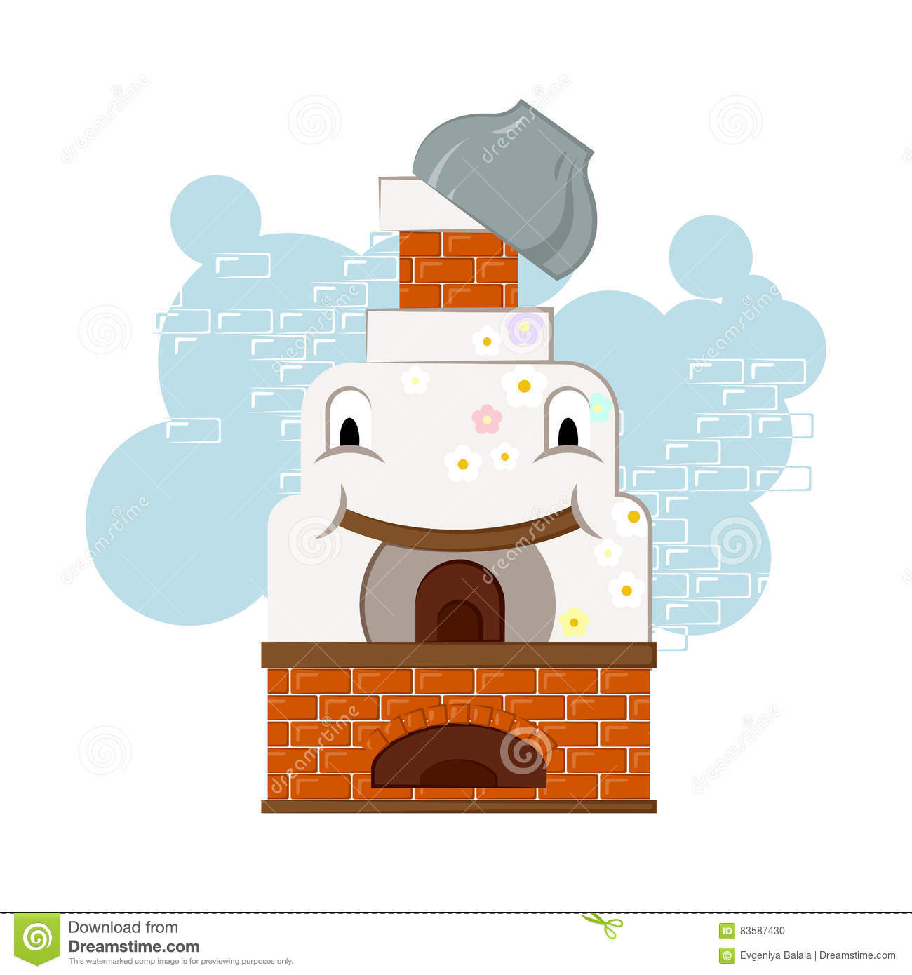 Illustration With Happy And Cheerful Russian Oven With A Pot On.