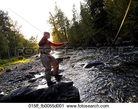Stock Photography of Woman fly fishing for Rainbow trout on the.