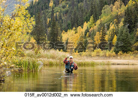 Stock Photo of Flyfisherman casting in deep water Russian River.