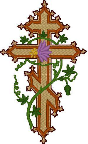 Orthodox Cross with flowering vine.