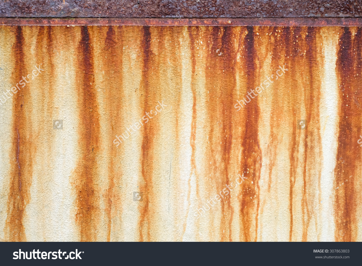 Rust Stains On Wall Stock Photo 307863803.