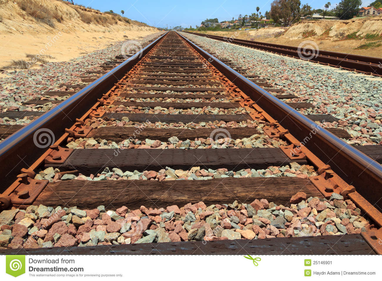 Rusty Train Tracks With Sandstone Stock Image.