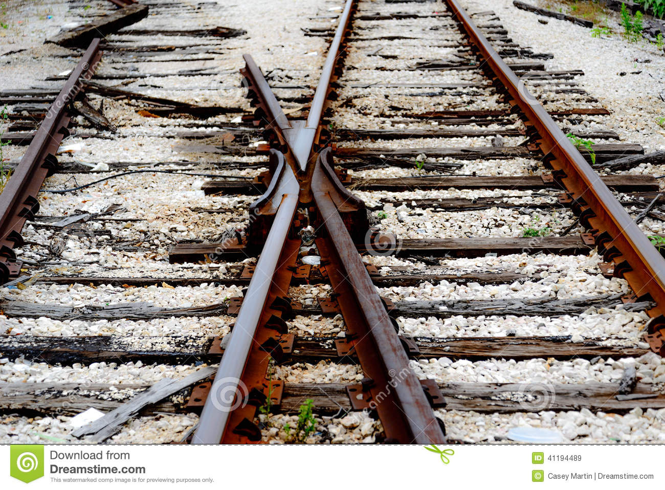 Switch At Broken Railroad Tracks Stock Photo.