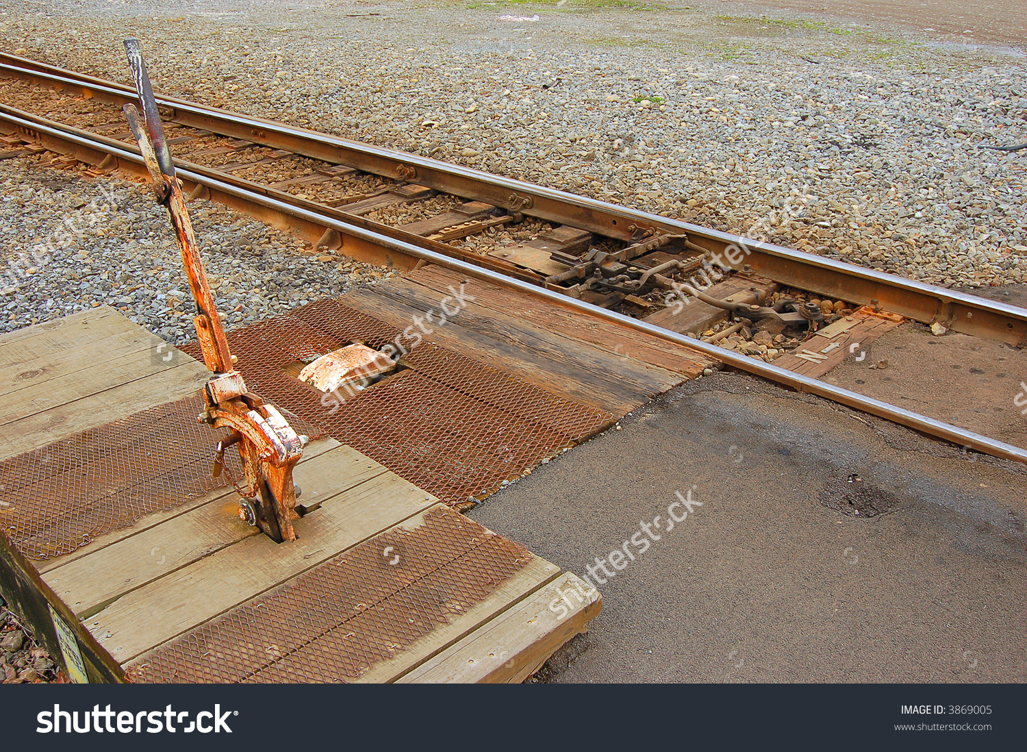 Railroad Points Lever And Track Connections Stock Photo 3869005.