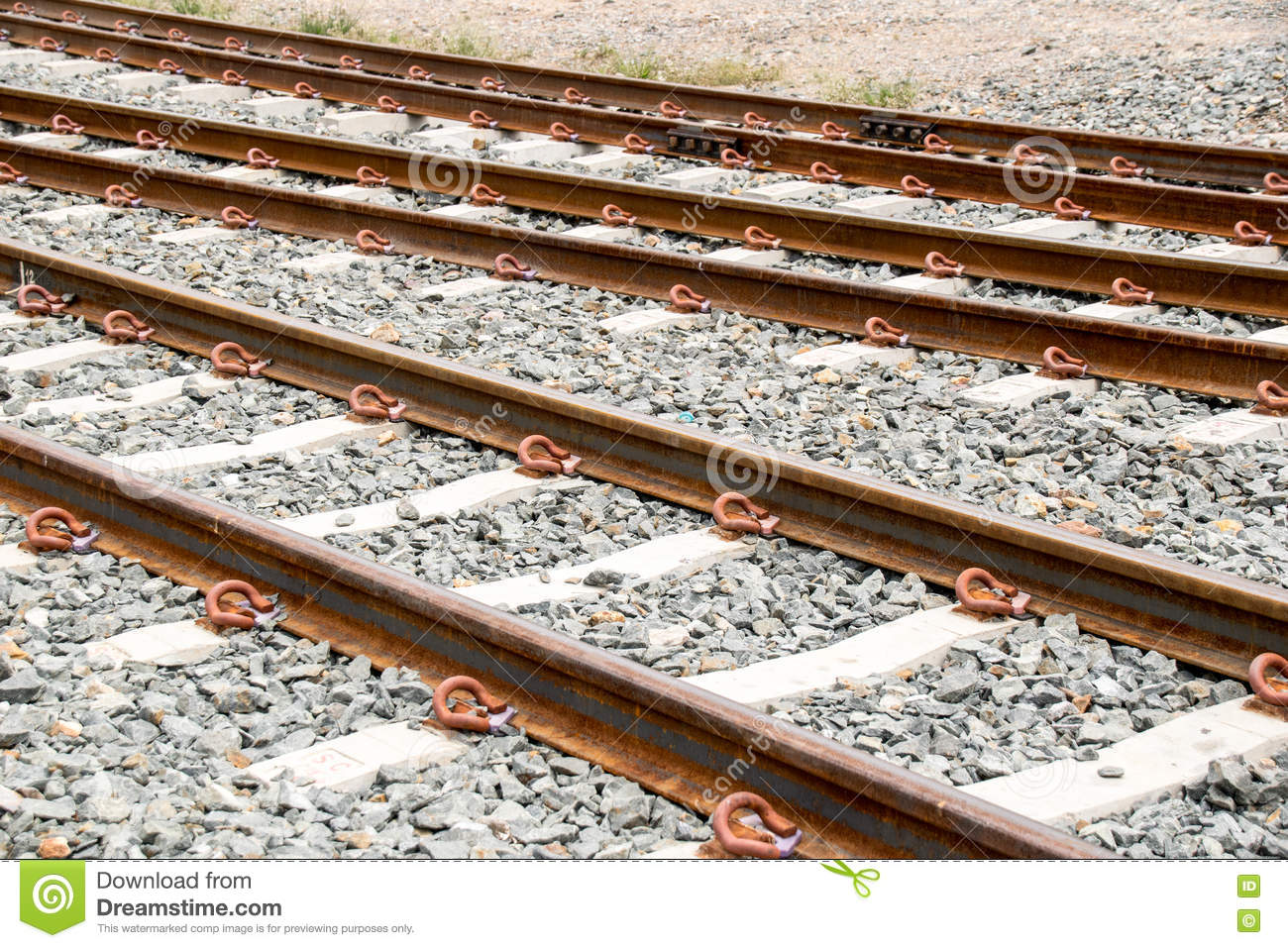 Close Up Railway Or Railroad Have Iron Steel Rust Stock Photo.
