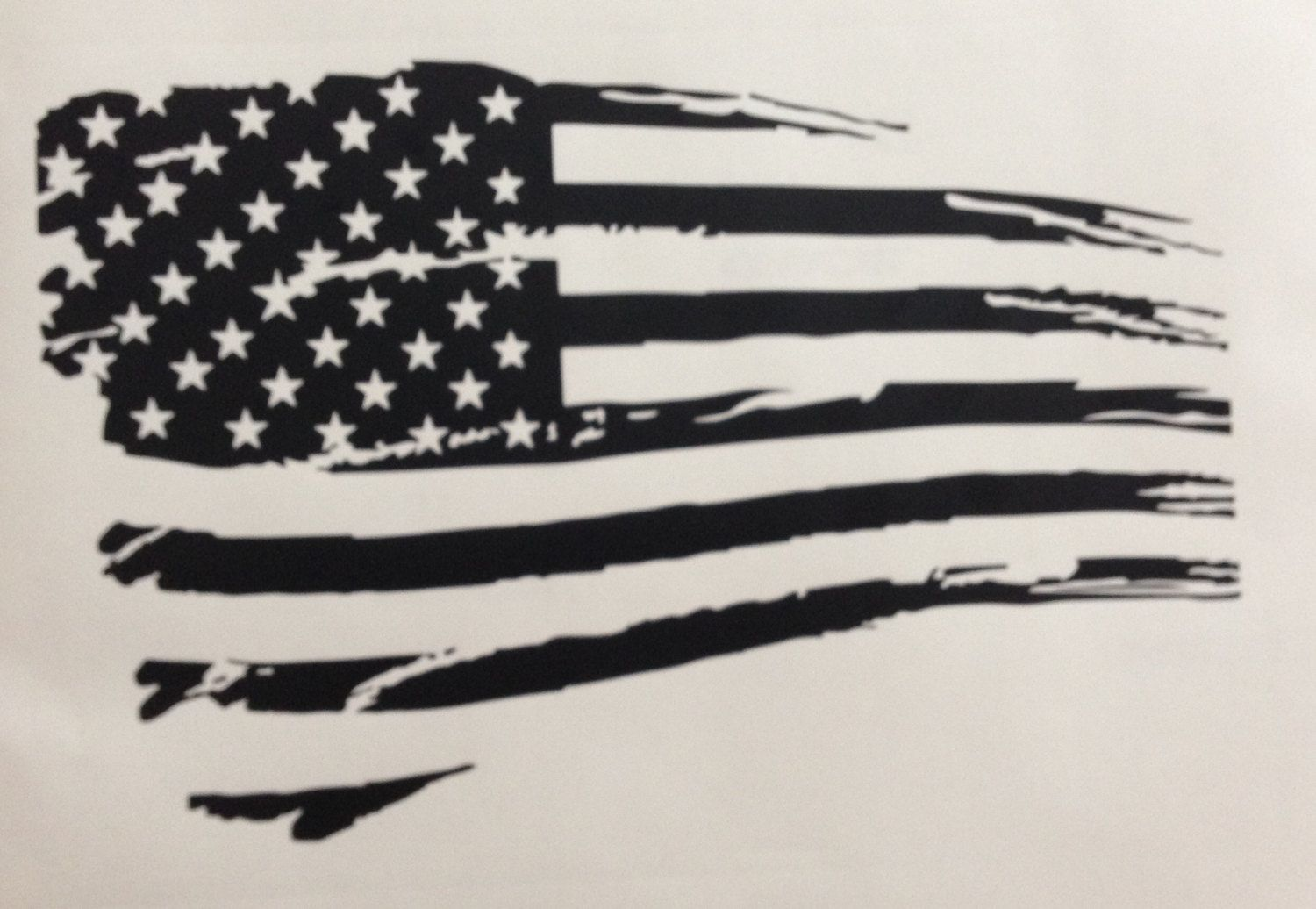 Tattered American Flag Black And White Rustic.