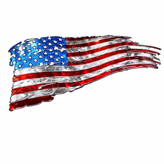 Tattered American flag, American flag wall art, Metal flag.