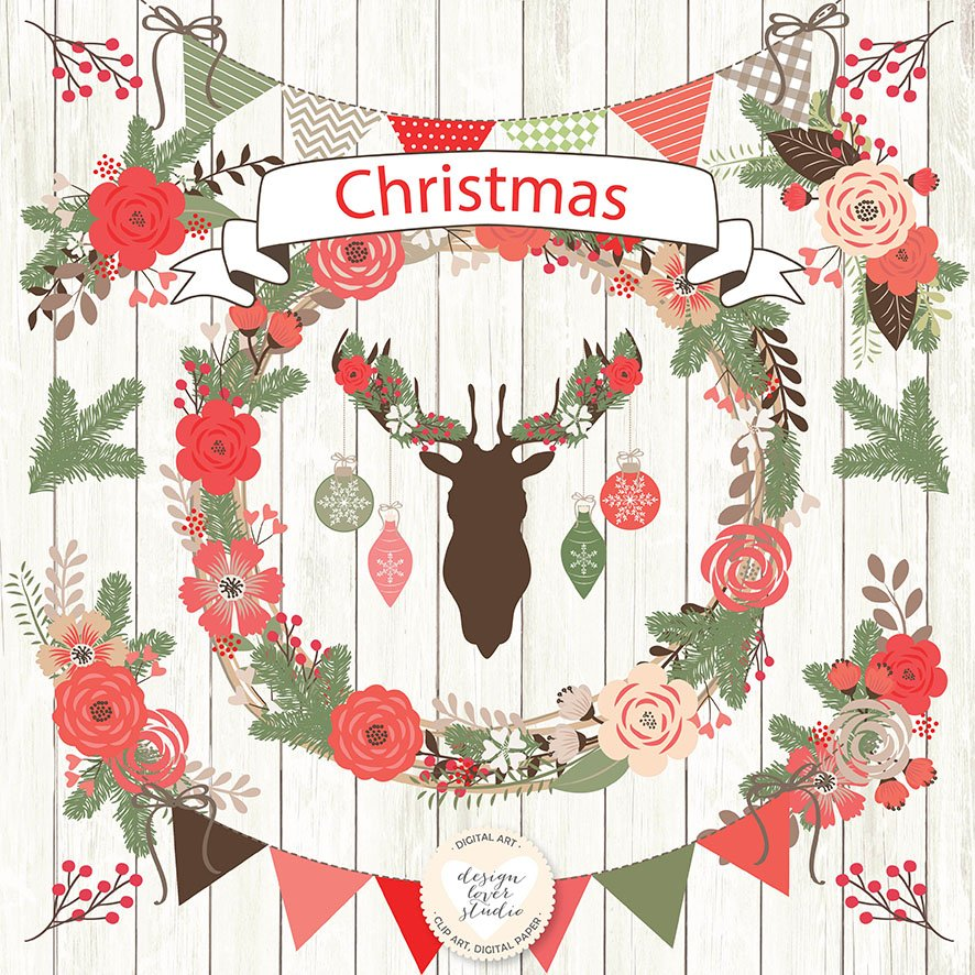 Vector Rustic christmas cliparts.