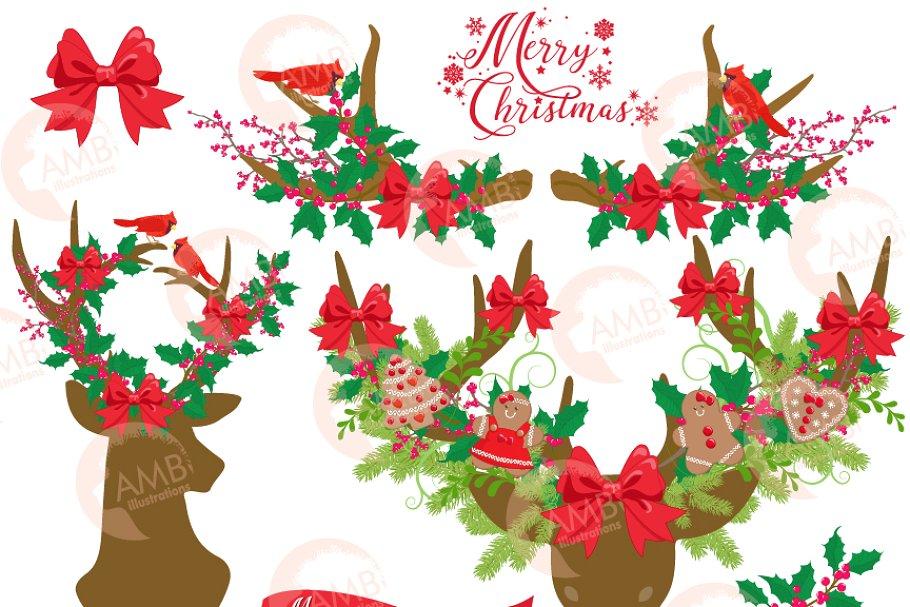 Rustic Deer Christmas Clipart, 1506.