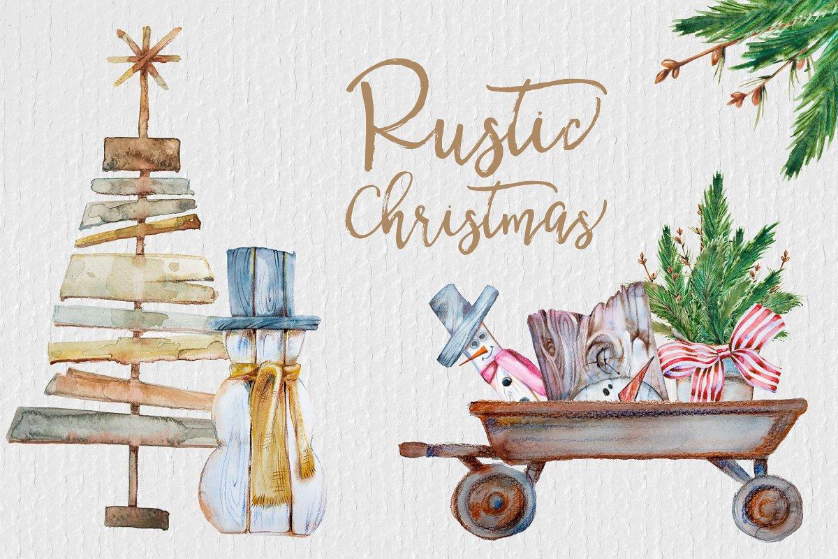 Watercolor Rustic Christmas Clipart.
