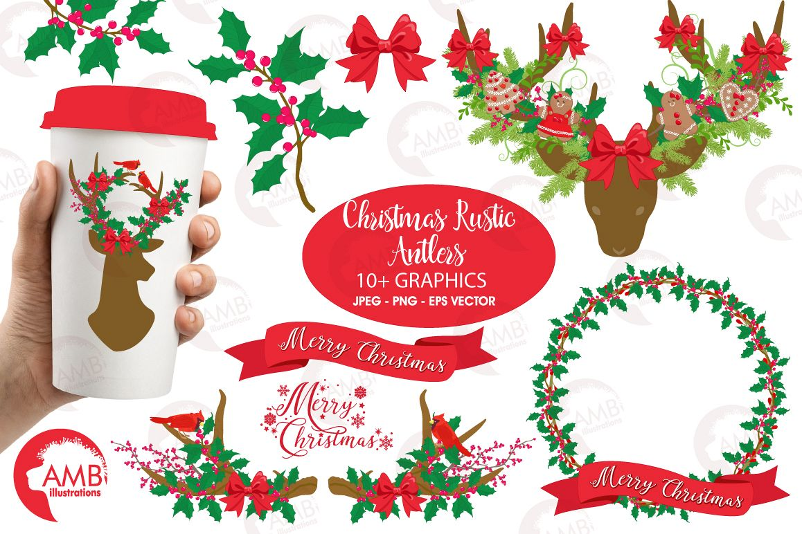 Christmas Rustic Antlers clipart, graphics and illustratins AMB.