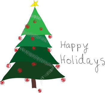 Clip Art Picture of a Rustic Christmas Tree.