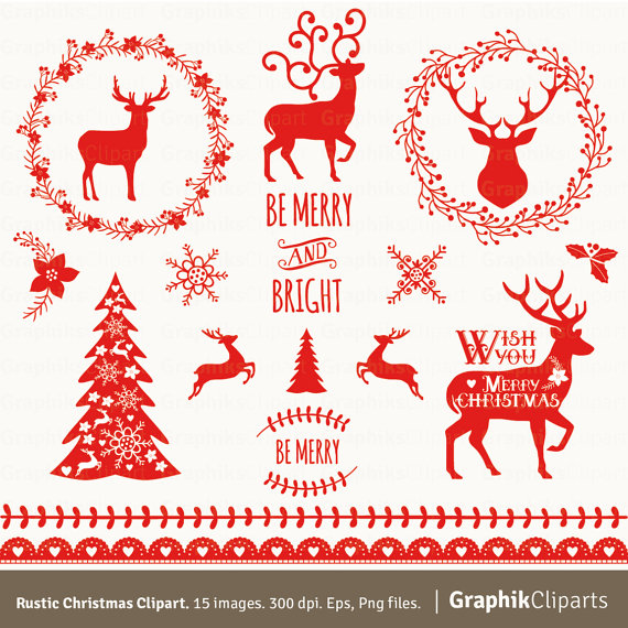 Rustic Christmas Clipart. Vector Christmas Clipart..