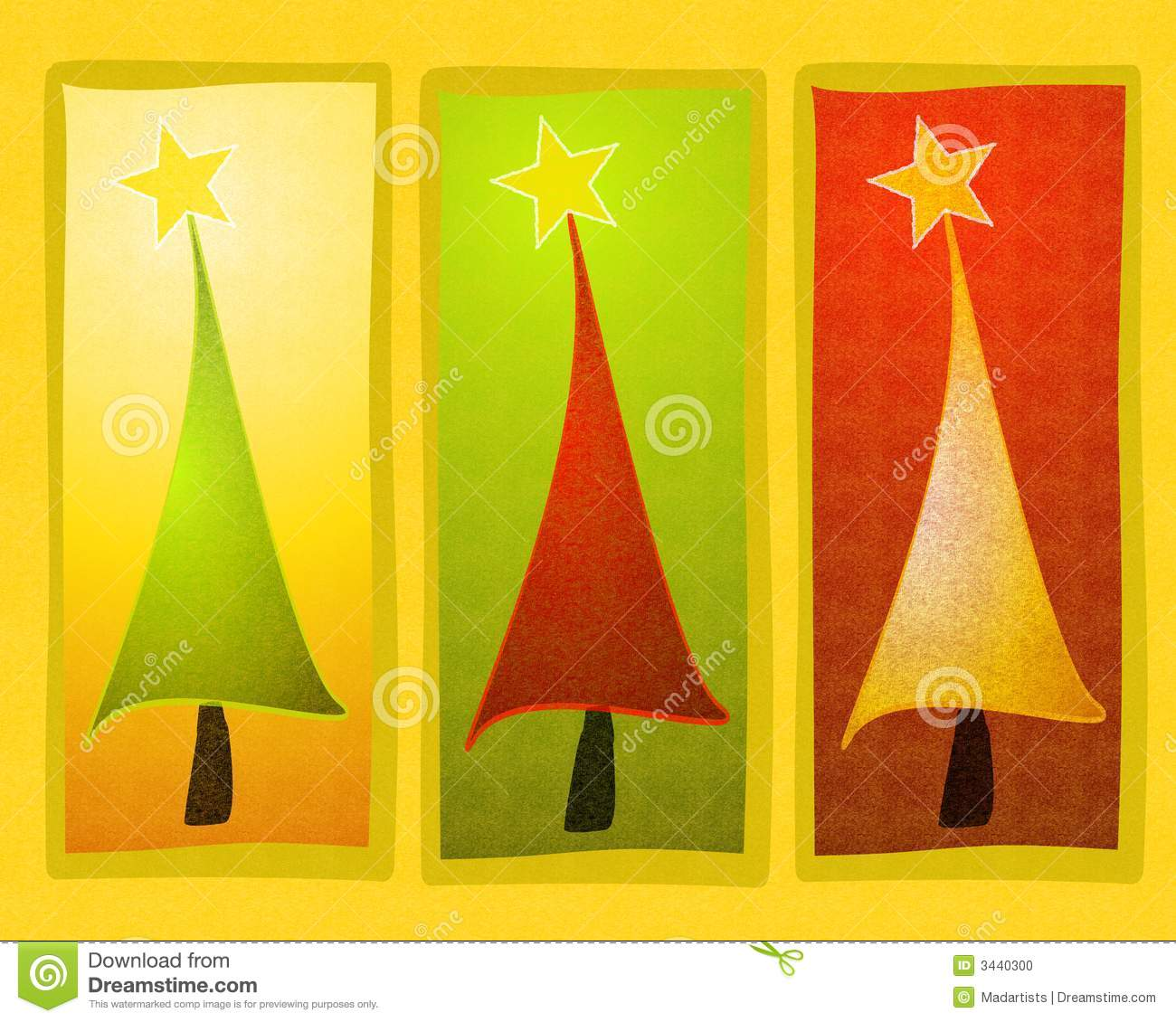 Rustic Christmas Tree Clip Art Stock Photo.
