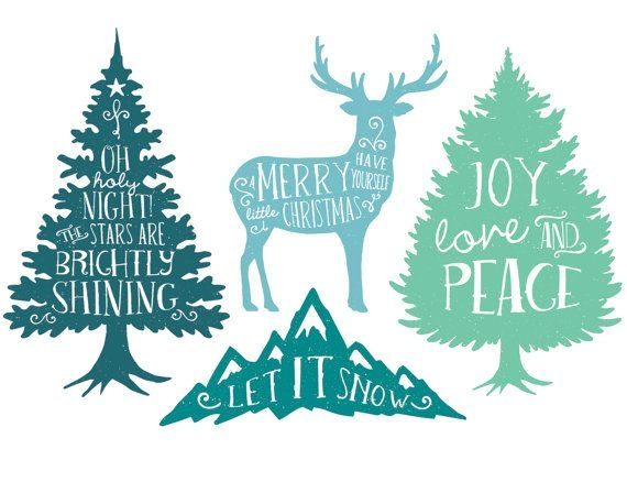 Rustic Christmas Tree Clipart.