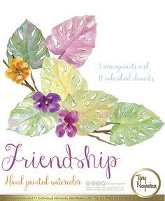 Romance Watercolor Floral Wedding Elements, Clipart, PNG, Blue.