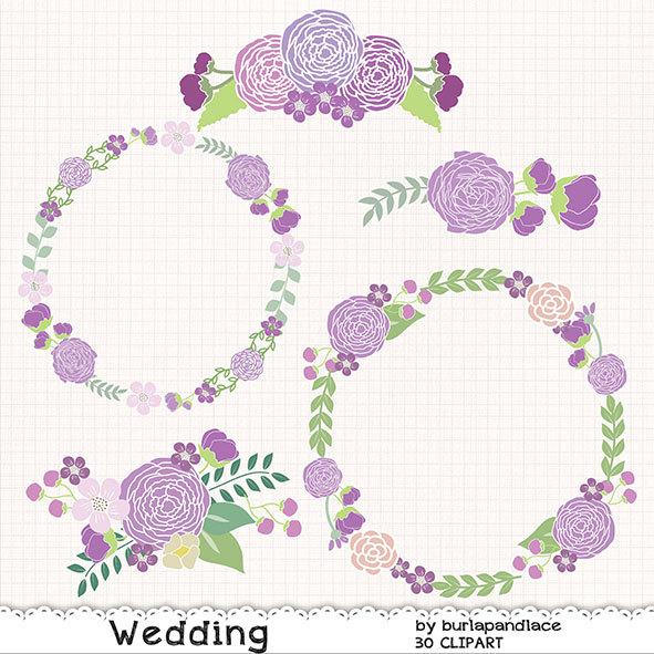 Wedding wreath clipart flower purple flower clipart bridal.