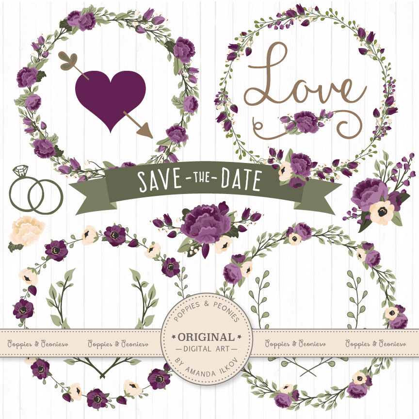 Premium Wedding Floral Clipart Vectors Deep Plum