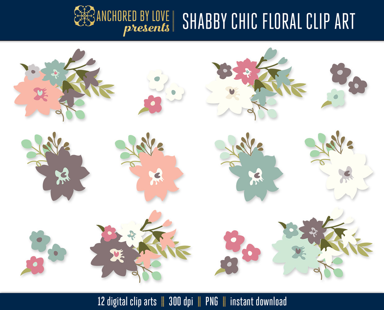 Shabby Chic Clipart, Garden Flowers Clip Art, Spring Clipart.
