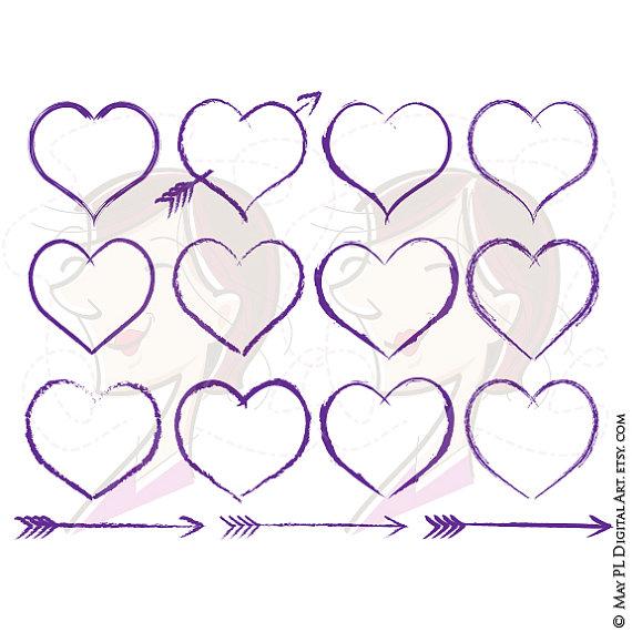 Purple Heart Clipart Rustic Frames Hand Drawn Arrow Clip Art.