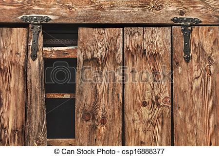 Picture of Antique Rustic Pine Wood Door With Wrought Iron Hinges.