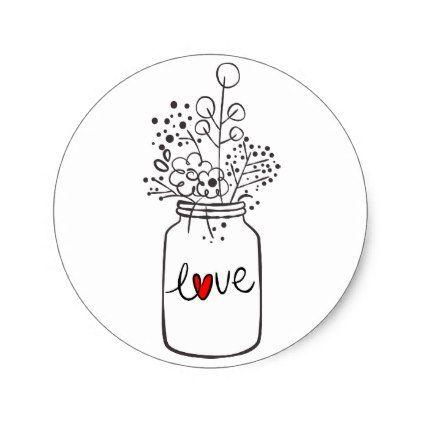 Rustic Floral Mason Jar Flower Black White Wedding Classic.