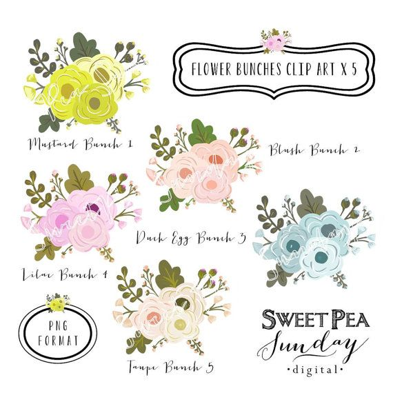 Rustic Floral Clipart.