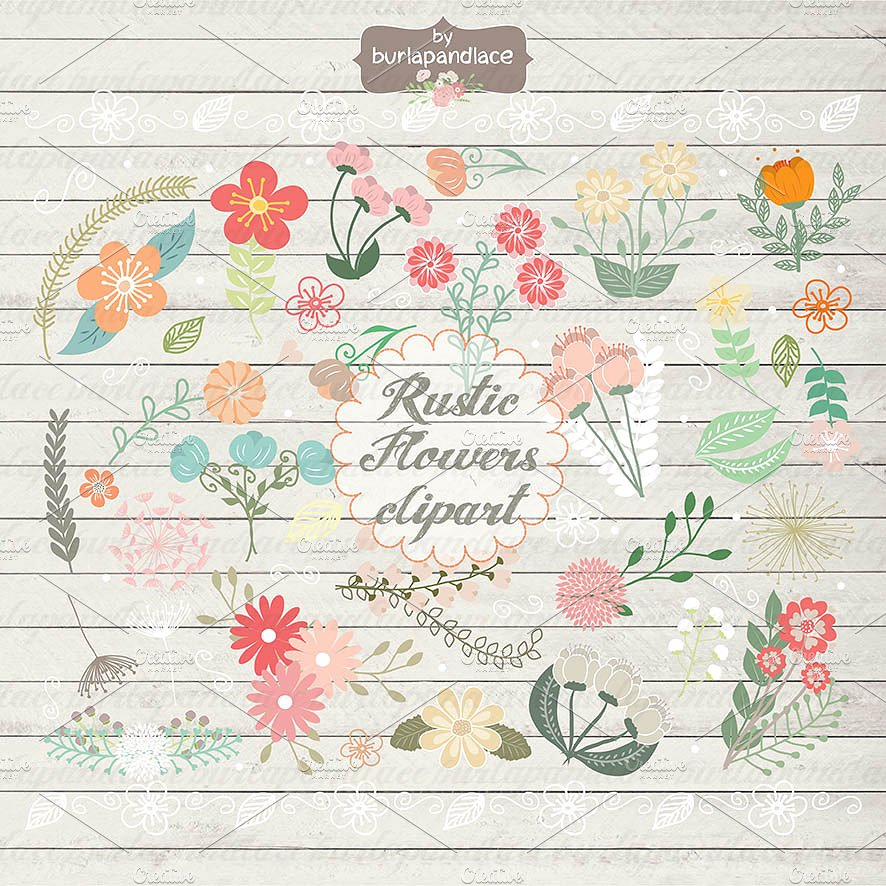 Hand draw rustic flowers clipart wedding invitation clipart Photos.
