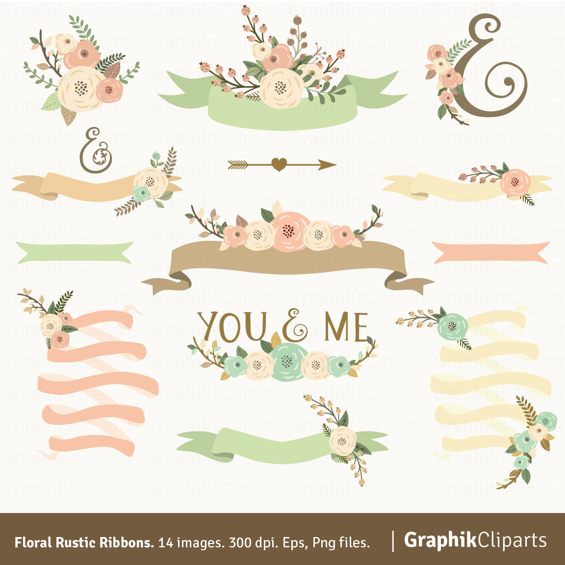 Floral Rustic Ribbons. Rustic Flowers. Ribbons Flowers.