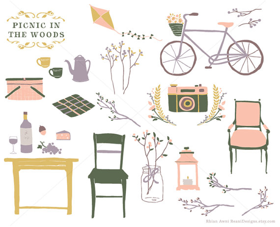 Flower Rustic Wedding Clipart Picnic Woods Clip Art Hand Drawn.