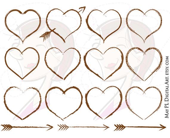 Rustic Heart Frames Wedding Clip Art Designs Brown Border Carved.