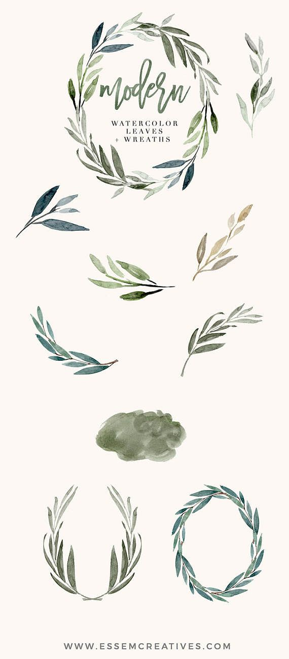 Watercolor Leaves Clipart, Modern Leaf Wreath, Green Branch.